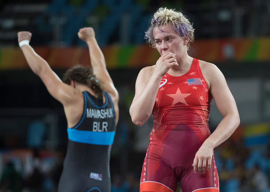 . United States\' Elena Sergey Pirozhkova lost to	Belarus\' Maryia Mamashuk in the semi-finals during the women\'s wrestling freestyle 63-kg competition at the 2016 Summer Olympics in Rio de Janeiro, Brazil, Thursday, Aug. 18, 2016.(Michael Goulding, Orange County Register)