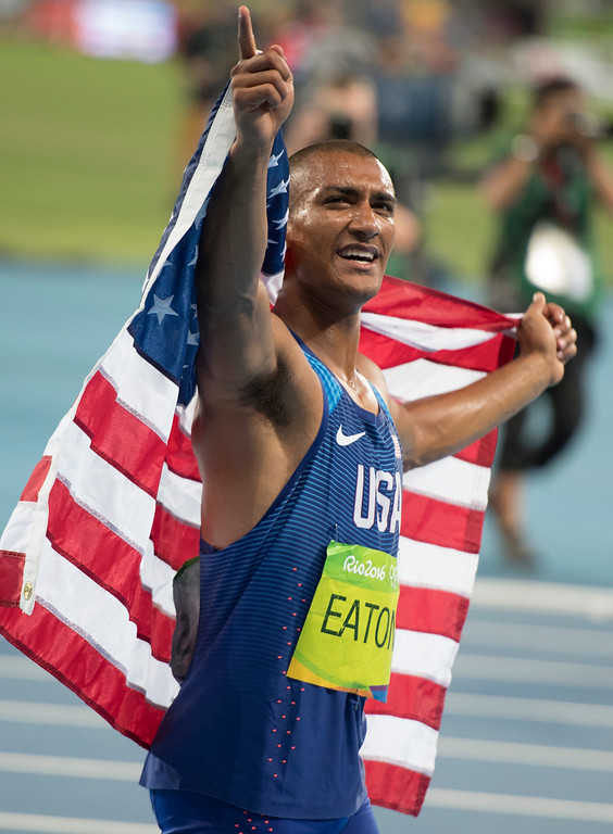 . United States\' Ashton Eaton celebrates after winning the men\'s decathlon  during the athletics competitions of the 2016 Summer Olympics at the Olympic stadium in Rio de Janeiro, Brazil, Thursday, Aug. 18, 2016.(Michael Goulding, Orange County Register)