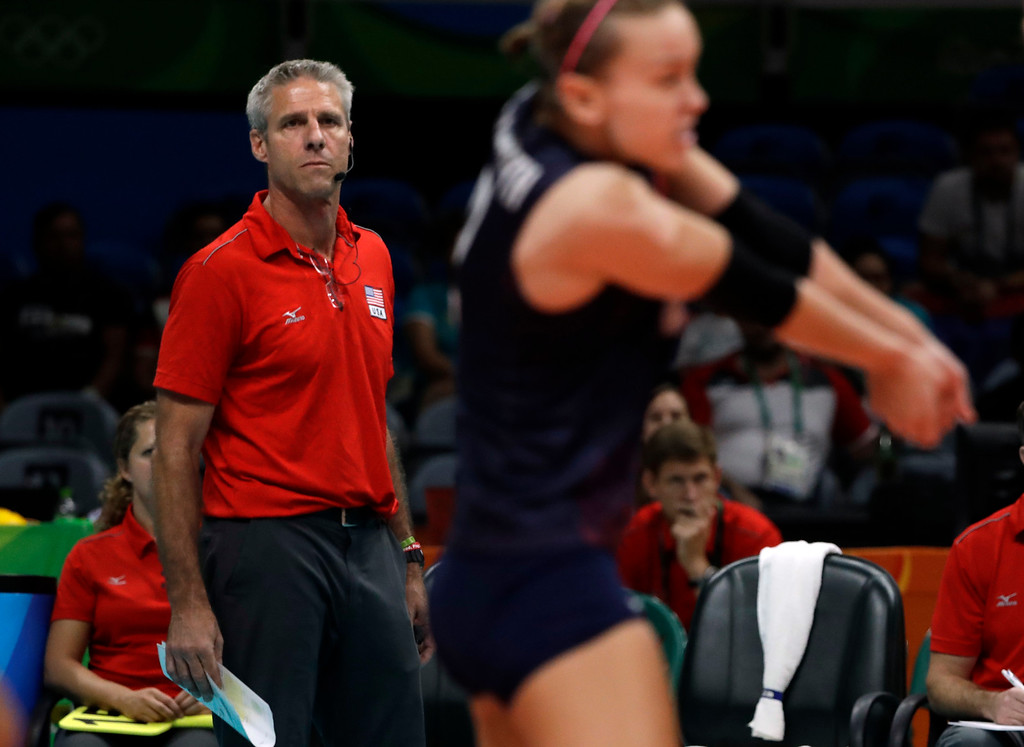 . United States head coach Karch Kiraly follows the action during a women\'s semifinal volleyball match against Serbia at the 2016 Summer Olympics in Rio de Janeiro, Brazil, Thursday, Aug. 18, 2016. (AP Photo/Matt Rourke)