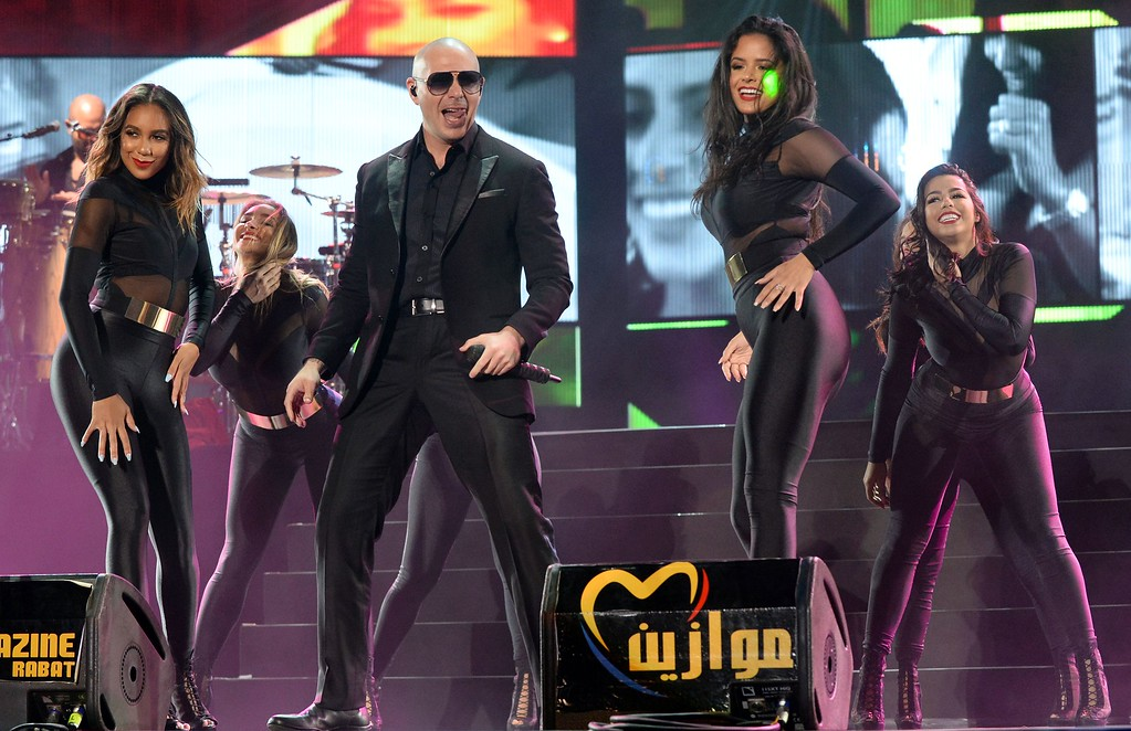 ". USA singer Pitbull performs during the World Music Festival ""Mawazine\"" in Rabat on May 27, 2016. (FADEL SENNA/AFP/Getty Images)"