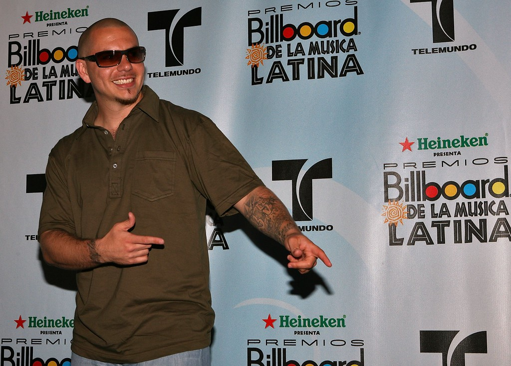 . HOLLYWOOD, FL - APRIL 27:  Rapper Pitbull poses in the press room at the 2006 Billboard Latin Music Awards at the Seminole Hard Rock Hotel & Casino on April 27, 2006 in Hollywood, Florida.  (Photo by Alexander Tamargo/Getty Images)