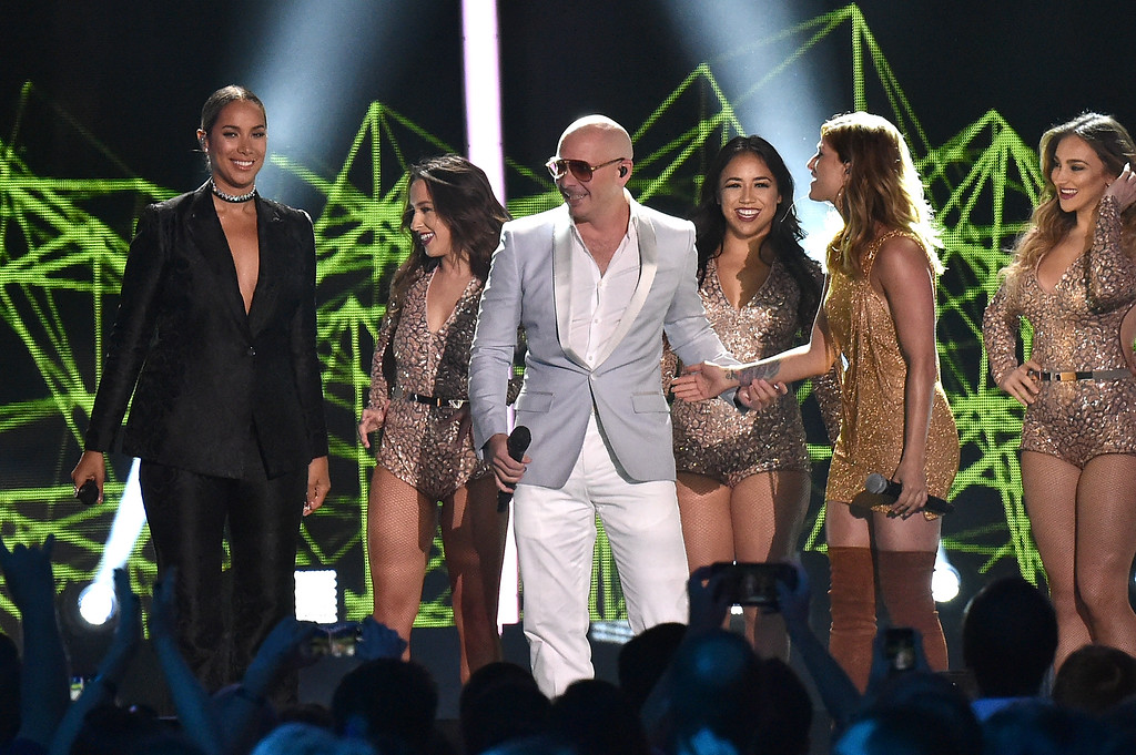 . NASHVILLE, TN - JUNE 08:  Singer-songwriter Leona Lewis, Rapper Pitbull and singer-songwriter Cassadee Pope onstage during the 2016 CMT Music awards at the Bridgestone Arena on June 8, 2016 in Nashville, Tennessee.  (Photo by Mike Coppola/Getty Images for CMT)