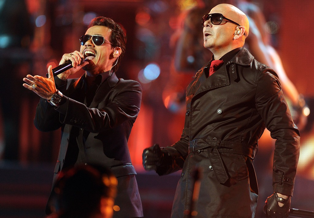 . Singers Marc Anthony and Pitbull perform during the 12th Annual Latin Grammy Awards in Las Vegas, Nevada, on November 10, 2011. (JEWEL SAMAD/AFP/Getty Images)