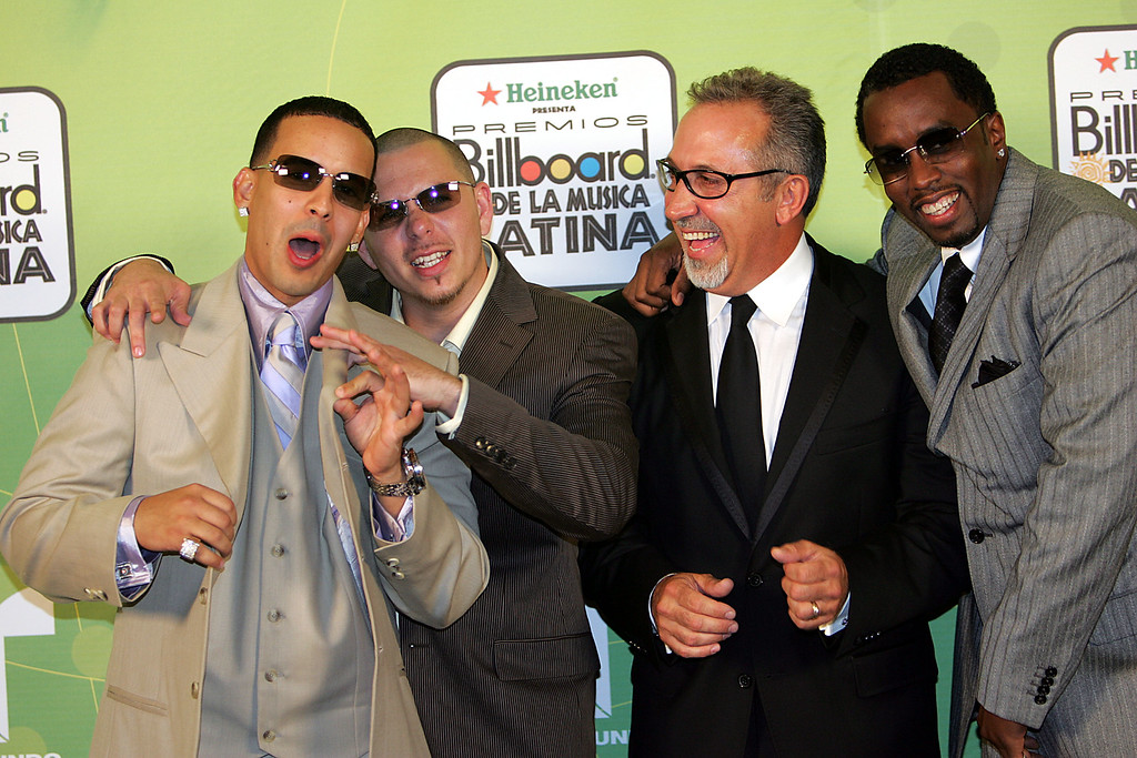 ". MIAMI - APRIL 28:  (L-R) Rapper Daddy Yankee, Rapper Pitbull, Emilio Estevan, and Sean ""P Diddy\"" Combs poses backstage at 2005 Billboard Latin Music Awards at the Miami Arena April 28, 2005 in Miami, Florida.  (Photo by Paul Hawthorne/Getty Images)"