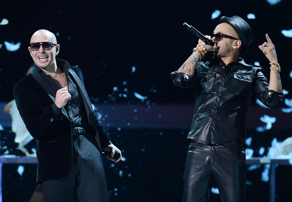 . Pitbull (L) and Sensato perform during the 13th Annual Latin Grammy show on November 15, 2012 in Las Vegas, Nevada.  (ROBYN BECK/AFP/Getty Images)