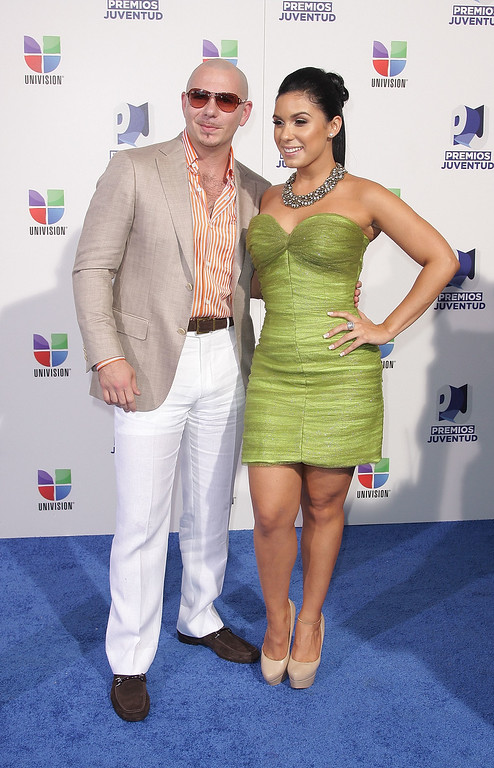 . MIAMI, FL - JULY 21:  Pitbull and Neymar arrive at Univision\'s 8th Annual Premios Juventud Awards at Bank United Center on July 21, 2011 in Miami, Florida.  (Photo by John Parra/Getty Images)