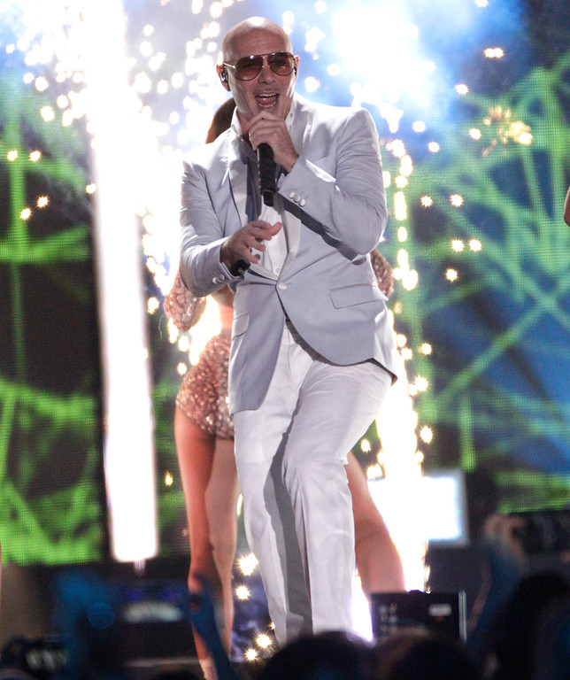 . Pitbull performs �Messin� Around� at the CMT Music Awards at the Bridgestone Arena on Wednesday, June 8, 2016, in Nashville, Tenn. (Photo by Wade Payne/Invision/AP)