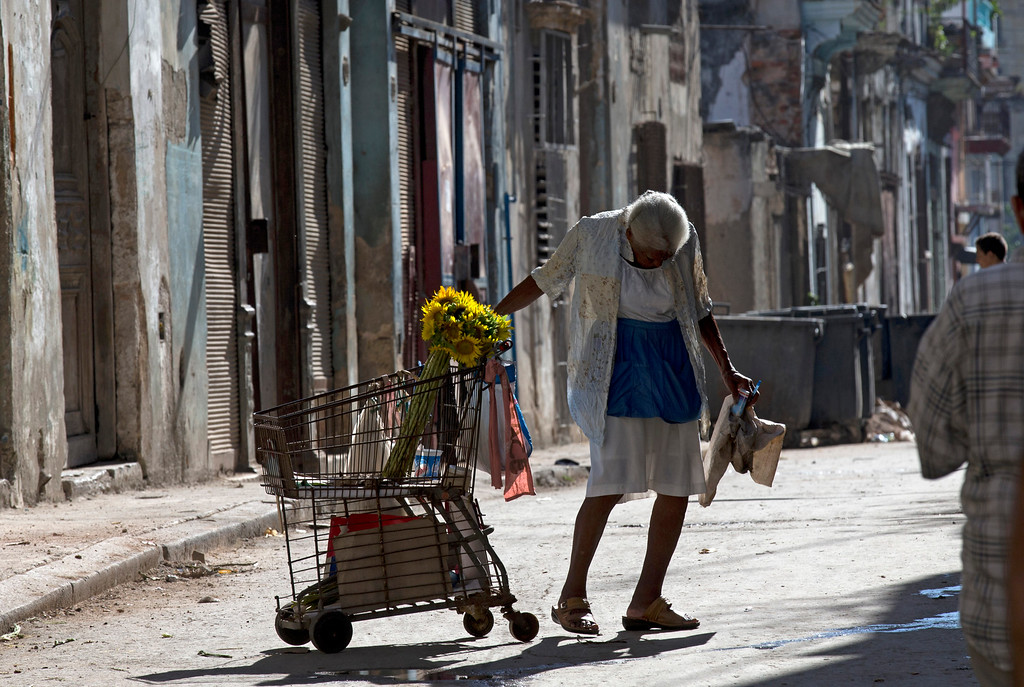 . A woman carries flowers on an old shopping card across a street near the route Pope Francis will ride by on his popemobile in Havana, Cuba, Saturday Sept. 19, 2015. Pope Francis begins a 10-day trip to Cuba and the United States on Saturday, embarking on his first trip to the onetime Cold War foes after helping to nudge forward their historic rapprochement. (AP Photo/Alessandra Tarantino)