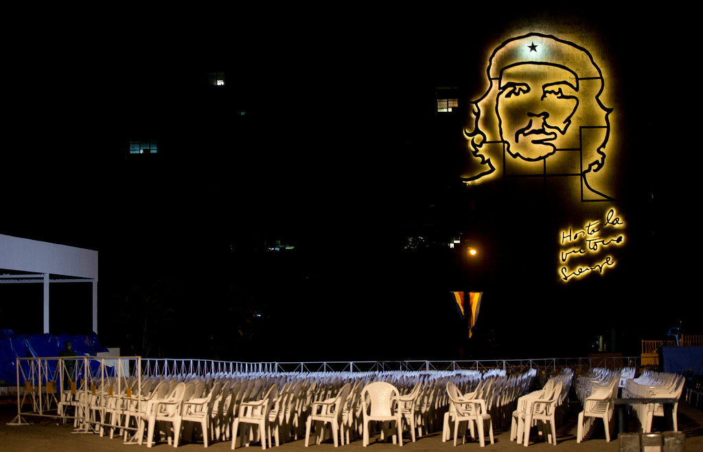 ". On the eve of the arrival of Pope Francis, chairs sit lined in rows in the Plaza of the Revolution backdropped by the iron sculpture of revolutionary hero, Ernesto ""Che\"" Guevara, in Havana, Cuba, Friday, Sept. 18, 2015. Thousands are expected to attend Francis\' Mass in the iconic plaza on Sunday. (AP Photo/Alessandra Tarantino)"