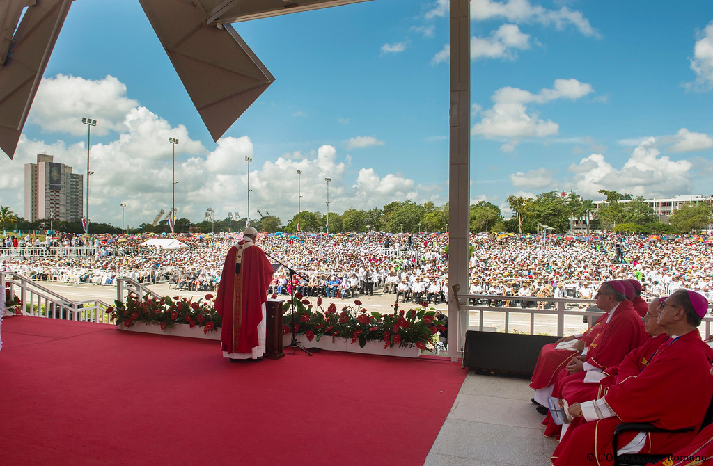 . In this photo taken on Monday, Sept. 21, 2015, Pope Francis celebrates a Mass in the Plaza of the Revolution, in Holguin, Cuba, Monday, Sept. 21, 2015. Speaking in his homily Francis called on Cubans to heed Jesus Christ\'s invitation to overcome resistance to change. (L\'Osservatore Romano/Pool Photo via AP)