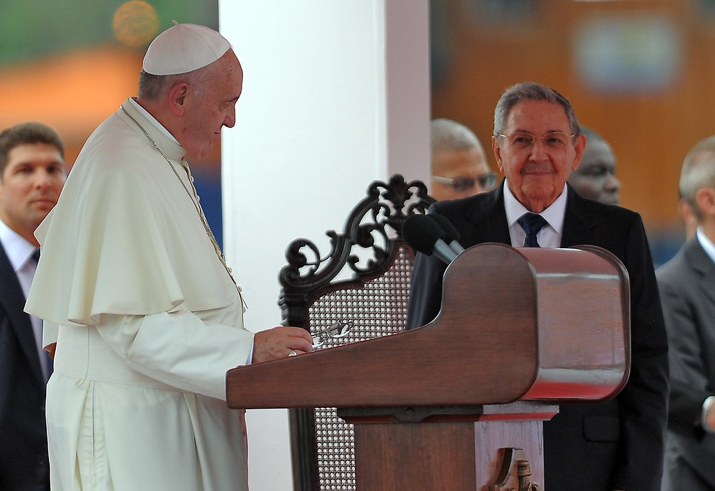. Pope Francis (L) stands next to Cuban President Raul Castro during his welcome ceremony upon landing at Havana\'s international airport on September 19, 2015, on the first leg of a high-profile trip that will also take him to the United States.   (YAMIL LAGE/AFP/Getty Images)