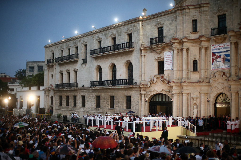. Pope Francis makes a speech to youngsters following a visit to the Father Felix Varela cultural center on September 20, 2015 in Havana, Cuba. Pope Francis is on the first full day of his three day visit to Cuba where he will meet President Raul Castro and hold Mass in Revolution Square before travelling to Holguin, Santiago de Cuba and El Cobre then onwards to the United States.  (Photo by Carl Court/Getty Images)