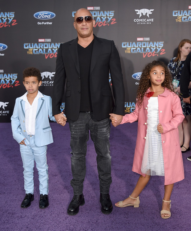 ". Vin Diesel, center, and his children, form left, Vincent Sinclair and Hania Riley Sinclair arrive at the world premiere of ""Guardians of the Galaxy Vol. 2\"" at the Dolby Theatre on Wednesday, April 19, 2017, in Los Angeles. (Photo by Jordan Strauss/Invision/AP)"