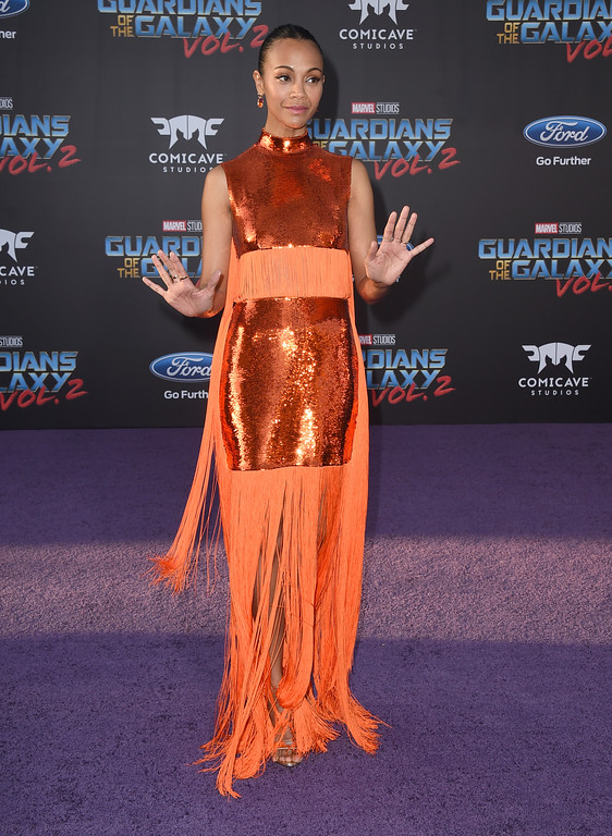 ". Zoe Saldana arrives at the world premiere of ""Guardians of the Galaxy Vol. 2\"" at the Dolby Theatre on Wednesday, April 19, 2017, in Los Angeles. (Photo by Jordan Strauss/Invision/AP)"