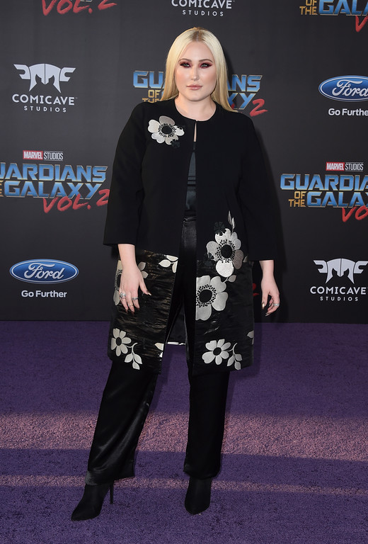 """. Hayley Hasselhoff arrives at the world premiere of \""""Guardians of the Galaxy Vol. 2\"""" at the Dolby Theatre on Wednesday, April 19, 2017, in Los Angeles. (Photo by Jordan Strauss/Invision/AP)"""