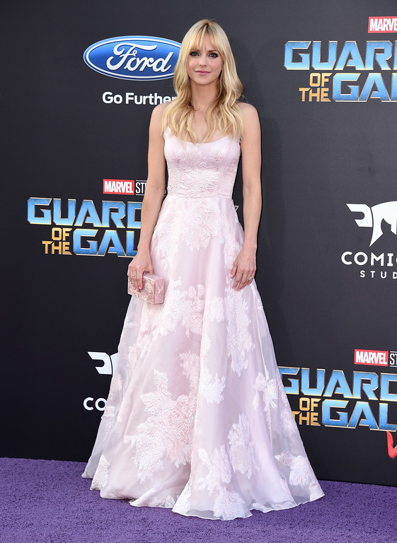". Anna Faris arrives at the world premiere of ""Guardians of the Galaxy Vol. 2\"" at the Dolby Theatre on Wednesday, April 19, 2017, in Los Angeles. (Photo by Jordan Strauss/Invision/AP)"