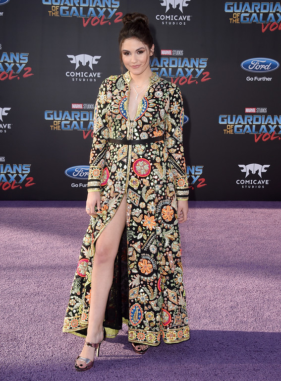 ". Ronni Hawk arrives at the world premiere of ""Guardians of the Galaxy Vol. 2\"" at the Dolby Theatre on Wednesday, April 19, 2017, in Los Angeles. (Photo by Jordan Strauss/Invision/AP)"