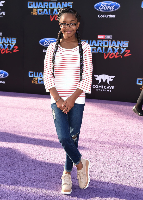 ". Marsai Martin arrives at the world premiere of ""Guardians of the Galaxy Vol. 2\"" at the Dolby Theatre on Wednesday, April 19, 2017, in Los Angeles. (Photo by Jordan Strauss/Invision/AP)"