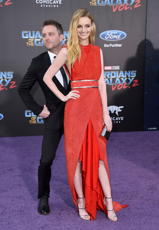 ". Chris Hardwick, left, and Lydia Hearst arrive at the world premiere of ""Guardians of the Galaxy Vol. 2\"" at the Dolby Theatre on Wednesday, April 19, 2017, in Los Angeles. (Photo by Jordan Strauss/Invision/AP)"