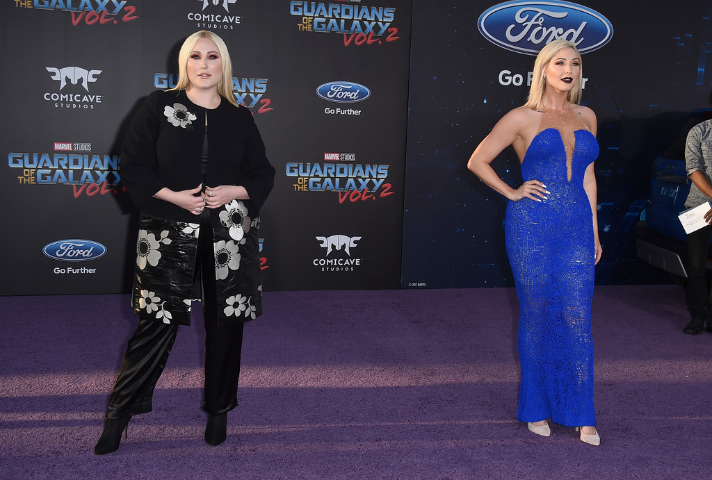 ". Hayley Hasselhoff, left, and Taylor Ann Hasselhoff arrive at the world premiere of ""Guardians of the Galaxy Vol. 2\"" at the Dolby Theatre on Wednesday, April 19, 2017, in Los Angeles. (Photo by Jordan Strauss/Invision/AP)"