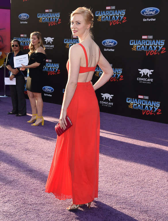 ". Deborah Ann Woll arrives at the world premiere of ""Guardians of the Galaxy Vol. 2\"" at the Dolby Theatre on Wednesday, April 19, 2017, in Los Angeles. (Photo by Jordan Strauss/Invision/AP)"