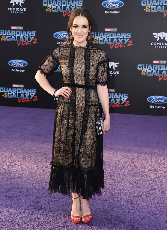 ". Elizabeth Henstridge arrives at the world premiere of ""Guardians of the Galaxy Vol. 2\"" at the Dolby Theatre on Wednesday, April 19, 2017, in Los Angeles. (Photo by Jordan Strauss/Invision/AP)"