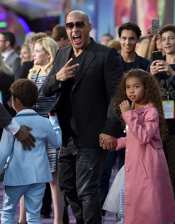 ". Vin Diesel, center, and his children, from left, Vincent Sinclair and Hania Riley Sinclair arrive at the world premiere of ""Guardians of the Galaxy Vol. 2\"" at the Dolby Theatre on Wednesday, April 19, 2017, in Los Angeles. (Photo by Jordan Strauss/Invision/AP)"