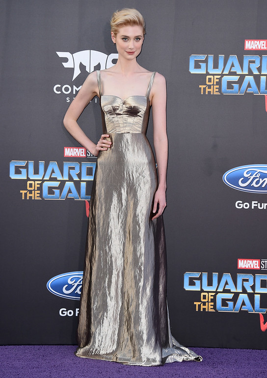 ". Elizabeth Debicki arrives at the world premiere of ""Guardians of the Galaxy Vol. 2\"" at the Dolby Theatre on Wednesday, April 19, 2017, in Los Angeles. (Photo by Jordan Strauss/Invision/AP)"