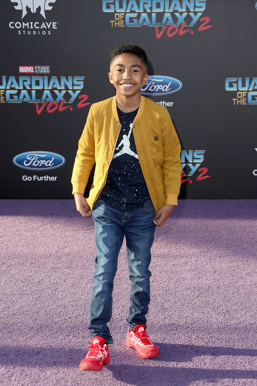 ". HOLLYWOOD, CA - APRIL 19:  Actor Miles Brown at the premiere of Disney and Marvel\'s ""Guardians Of The Galaxy Vol. 2\"" at Dolby Theatre on April 19, 2017 in Hollywood, California.  (Photo by Frederick M. Brown/Getty Images)"