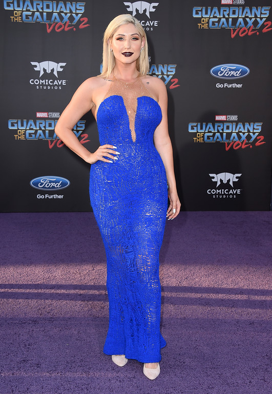 ". Taylor Ann Hasselhoff arrives at the world premiere of ""Guardians of the Galaxy Vol. 2\"" at the Dolby Theatre on Wednesday, April 19, 2017, in Los Angeles. (Photo by Jordan Strauss/Invision/AP)"