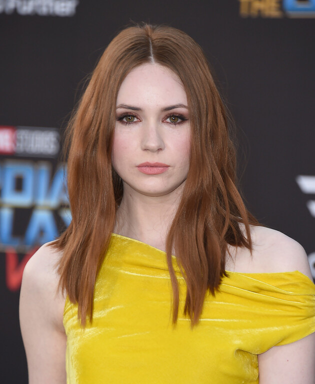 ". Karen Gillan arrives at the world premiere of ""Guardians of the Galaxy Vol. 2\"" at the Dolby Theatre on Wednesday, April 19, 2017, in Los Angeles. (Photo by Jordan Strauss/Invision/AP)"
