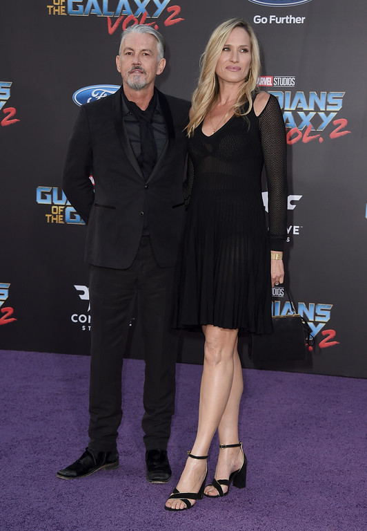 ". Tommy Flanagan, left, and Dina Livingston arrive at the world premiere of ""Guardians of the Galaxy Vol. 2\"" at the Dolby Theatre on Wednesday, April 19, 2017, in Los Angeles. (Photo by Jordan Strauss/Invision/AP)"