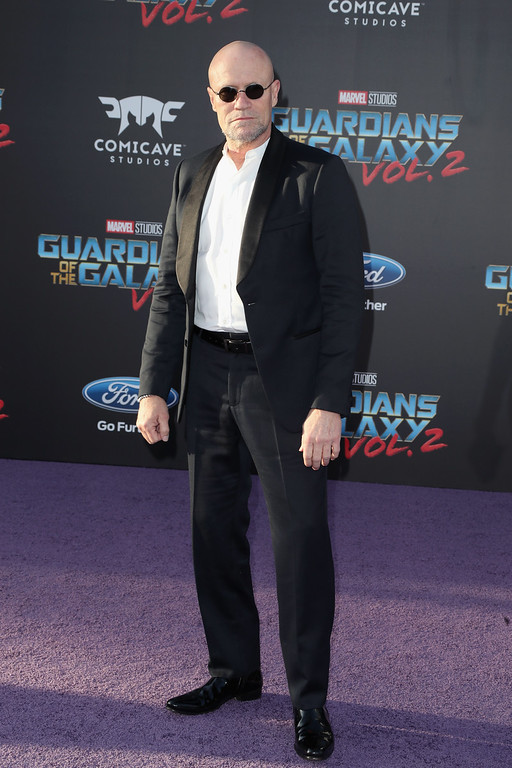 ". HOLLYWOOD, CA - APRIL 19:  Actor Michael Rooker at the premiere of Disney and Marvel\'s ""Guardians Of The Galaxy Vol. 2\"" at Dolby Theatre on April 19, 2017 in Hollywood, California.  (Photo by Frederick M. Brown/Getty Images)"