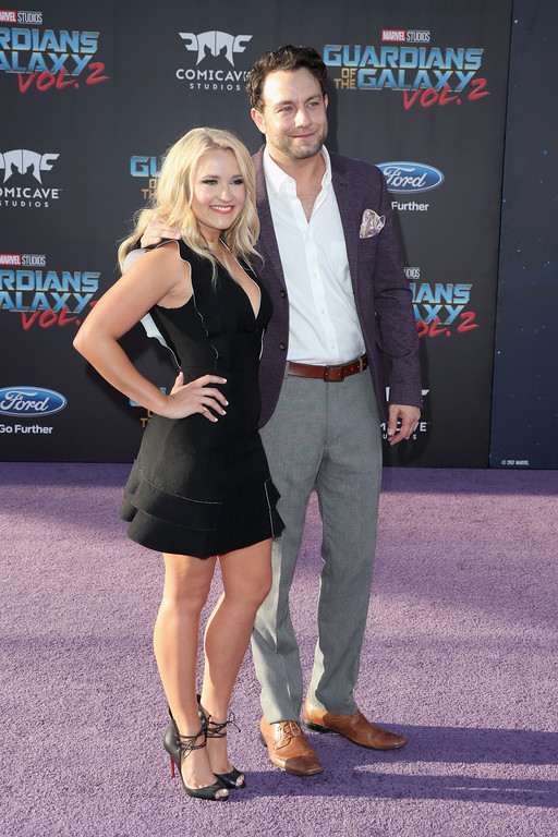 ". HOLLYWOOD, CA - APRIL 19:  Actors Emily Osment (L) and Jonathan Sadowski at the premiere of Disney and Marvel\'s ""Guardians Of The Galaxy Vol. 2\"" at Dolby Theatre on April 19, 2017 in Hollywood, California.  (Photo by Frederick M. Brown/Getty Images)"