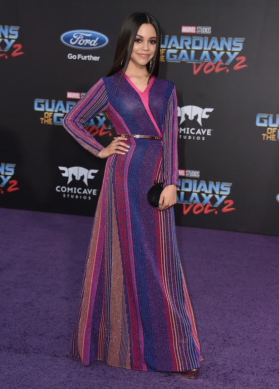 ". Jenna Ortega arrives at the world premiere of ""Guardians of the Galaxy Vol. 2\"" at the Dolby Theatre on Wednesday, April 19, 2017, in Los Angeles. (Photo by Jordan Strauss/Invision/AP)"