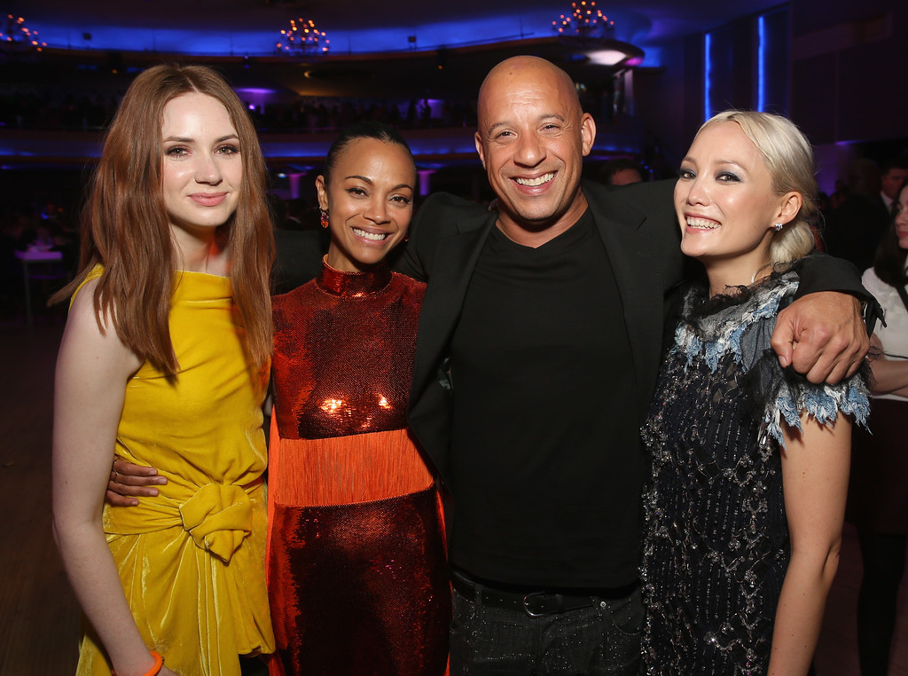 . HOLLYWOOD, CA - APRIL 19: (L-R) Actors Karen Gillan, Zoe Saldana, Vin Diesel and Pom Klementieff at The World Premiere of Marvel Studios� �Guardians of the Galaxy Vol. 2.� at Dolby Theatre in Hollywood, CA April 19th, 2017  (Photo by Jesse Grant/Getty Images for Disney)