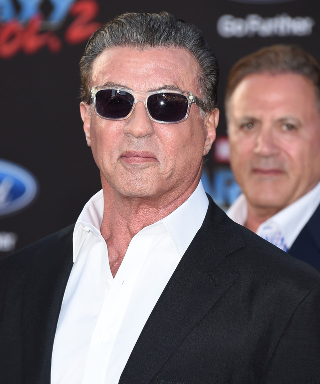 ". Sylvester Stallone arrives at the world premiere of ""Guardians of the Galaxy Vol. 2\"" at the Dolby Theatre on Wednesday, April 19, 2017, in Los Angeles. (Photo by Jordan Strauss/Invision/AP)"