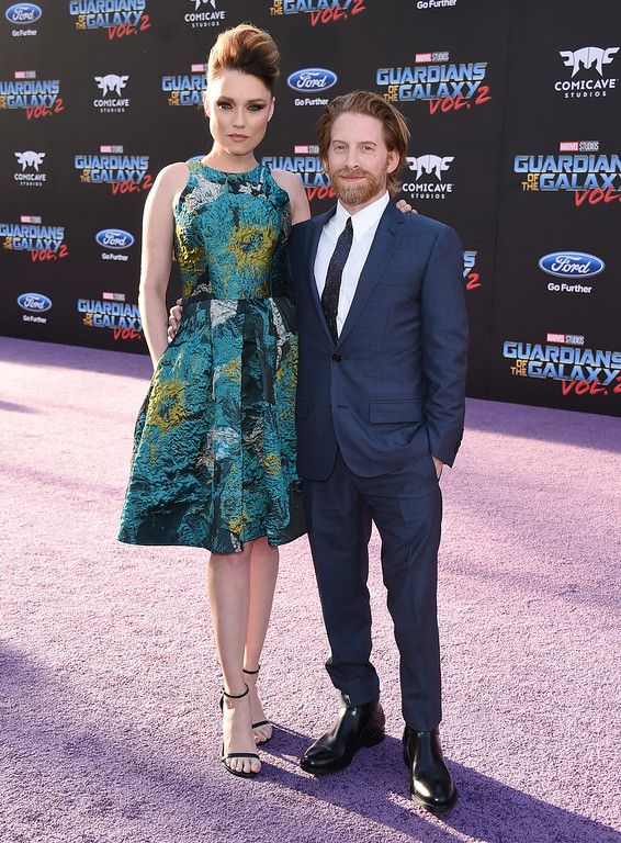 ". Clare Grant, left, and Seth Green arrive at the world premiere of ""Guardians of the Galaxy Vol. 2\"" at the Dolby Theatre on Wednesday, April 19, 2017, in Los Angeles. (Photo by Jordan Strauss/Invision/AP)"