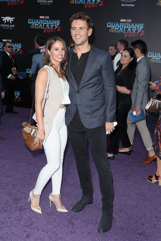 ". HOLLYWOOD, CA - APRIL 19:  TV personalities Vanessa Grimaldi (L) and Nick Viall at the premiere of Disney and Marvel\'s ""Guardians Of The Galaxy Vol. 2\"" at Dolby Theatre on April 19, 2017 in Hollywood, California.  (Photo by Frederick M. Brown/Getty Images)"