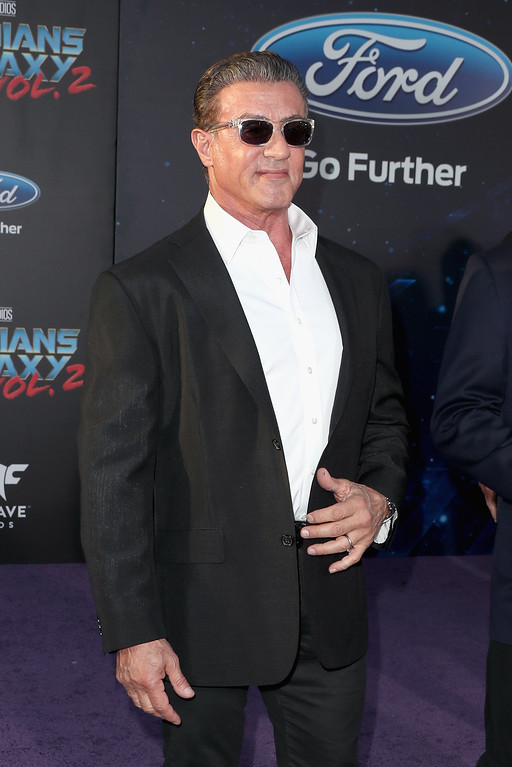 ". HOLLYWOOD, CA - APRIL 19:  Actor Sylvester Stallone at the premiere of Disney and Marvel\'s ""Guardians Of The Galaxy Vol. 2\"" at Dolby Theatre on April 19, 2017 in Hollywood, California.  (Photo by Frederick M. Brown/Getty Images)"