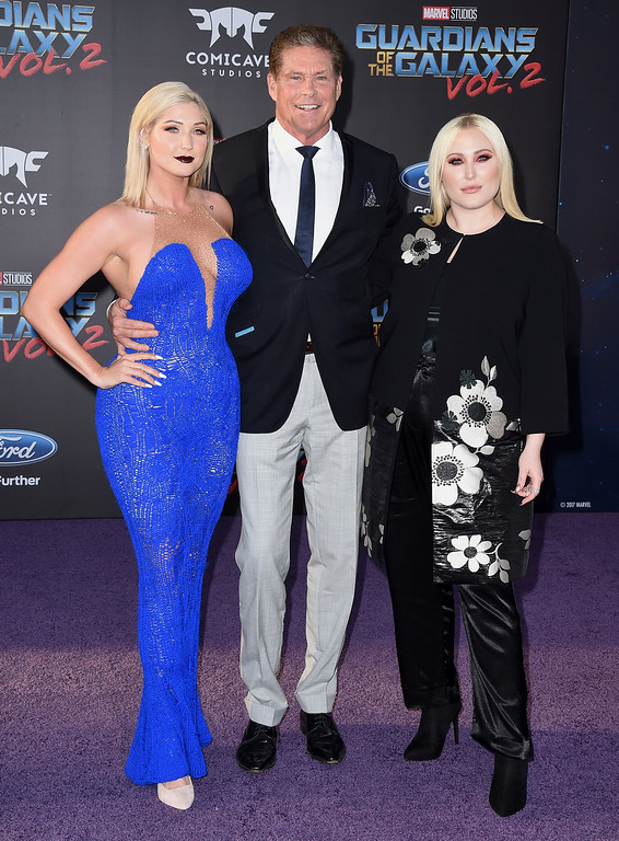 ". David Hasselhoff, center, and his daughters, left, Taylor Ann Hasselhoff and Hayley Hasselhoff arrive at the world premiere of ""Guardians of the Galaxy Vol. 2\"" at the Dolby Theatre on Wednesday, April 19, 2017, in Los Angeles. (Photo by Jordan Strauss/Invision/AP)"