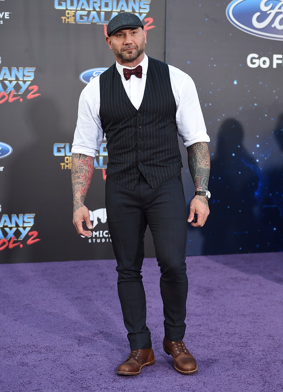 ". Dave Bautista arrives at the world premiere of ""Guardians of the Galaxy Vol. 2\"" at the Dolby Theatre on Wednesday, April 19, 2017, in Los Angeles. (Photo by Jordan Strauss/Invision/AP)"