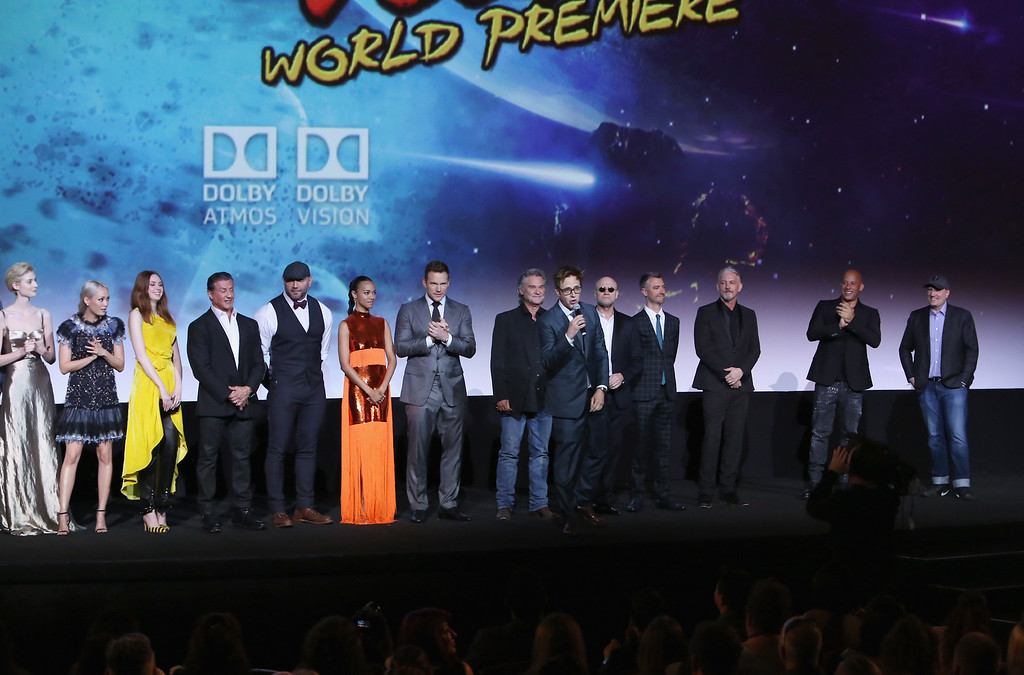 . HOLLYWOOD, CA - APRIL 19:  (L-R) Actors Elizabeth Debicki, Pom Klementieff, Karen Gillan, Sylvester Stallone, Dave Bautista, Zoe Saldana, Chris Pratt, Kurt Russell, Michael Rooker, Sean Gunn, Tommy Flanagan, Vin Diesel, director James Gunn and Producer and President of Marvel Studios Kevin Feige at The World Premiere of Marvel Studios� �Guardians of the Galaxy Vol. 2.� at Dolby Theatre in Hollywood, CA April 19th, 2017  (Photo by Jesse Grant/Getty Images for Disney)