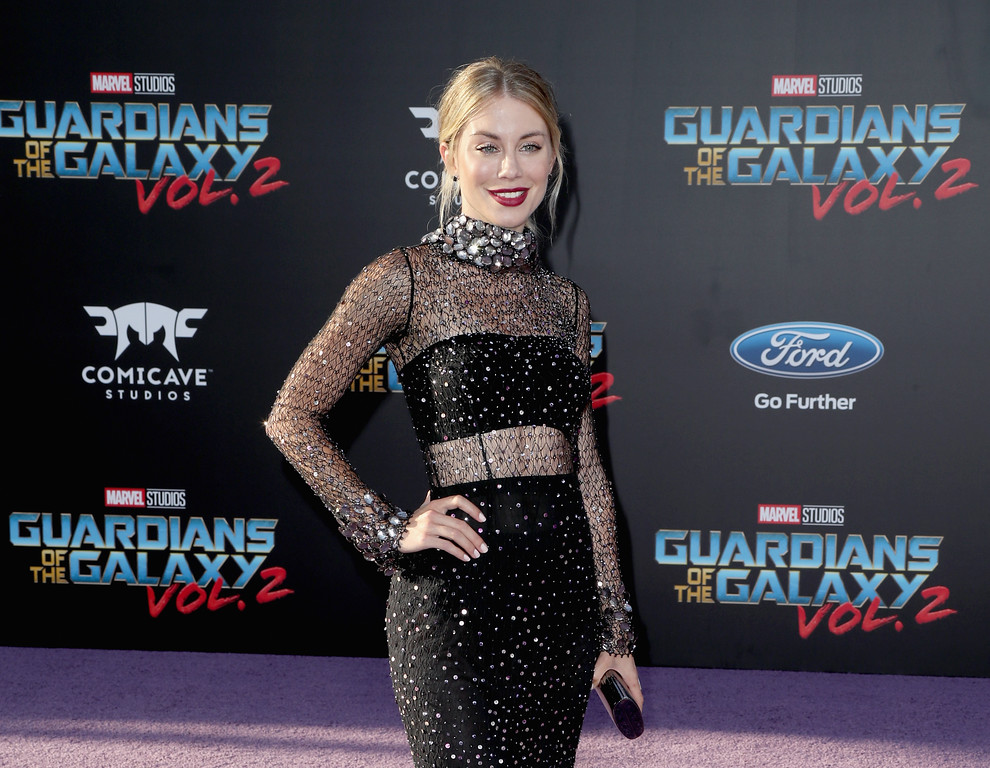 ". HOLLYWOOD, CA - APRIL 19:  Actor Jennifer Holland at the premiere of Disney and Marvel\'s ""Guardians Of The Galaxy Vol. 2\"" at Dolby Theatre on April 19, 2017 in Hollywood, California.  (Photo by Frederick M. Brown/Getty Images)"