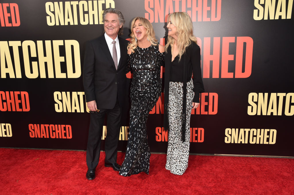 ". WESTWOOD, CA - MAY 10:  Actors Kurt Russell, Goldie Hawn, and Kate Hudson attend the premiere of 20th Century Fox\'s ""Snatched\"" at Regency Village Theatre on May 10, 2017 in Westwood, California.  (Photo by Alberto E. Rodriguez/Getty Images)"