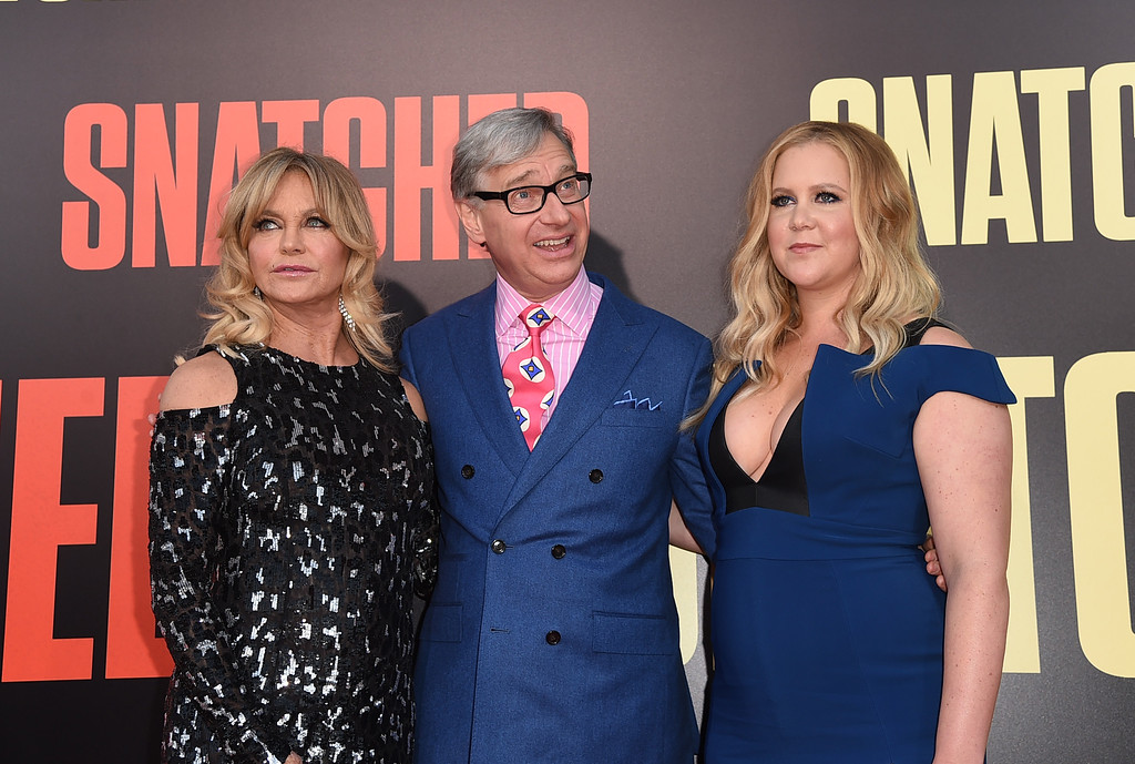 ". WESTWOOD, CA - MAY 10:  Actor Goldie Hawn, filmmaker Paul Feig, and actor/executive producer Amy Schumer attend the premiere of 20th Century Fox\'s ""Snatched\"" at Regency Village Theatre on May 10, 2017 in Westwood, California.  (Photo by Kevin Winter/Getty Images)"