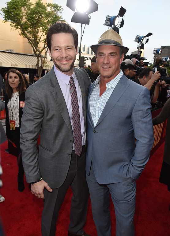 ". WESTWOOD, CA - MAY 10:  Actors Ike Barinholtz (L) and Christopher Meloni attend the premiere of 20th Century Fox\'s ""Snatched\"" at Regency Village Theatre on May 10, 2017 in Westwood, California.  (Photo by Kevin Winter/Getty Images)"