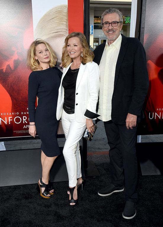 ". Jordan Ladd, from left, Cheryl Ladd and Brian Russell arrive at the Los Angeles premiere of ""Unforgettable\"" at the TCL Chinese Theatre on Tuesday, April 18, 2017. (Photo by Jordan Strauss/Invision/AP)"