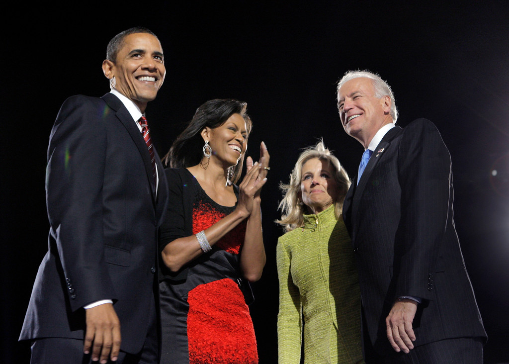 . President-elect Barack Obama and his wife, Michelle, left, and Vice President-elect Joe Biden and his wife, Jill, celebrate after Obama\'s acceptance speech at the election night rally in Chicago, Tuesday, Nov. 4, 2008. (AP Photo/Jae C. Hong)