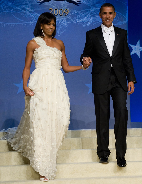 . US President Barack Obama and First Lady Michelle Obama arrive at the Obama Home States Inaugural Ball at the Washington Convention Center in Washington, DC, January 20, 2009.   (SAUL LOEB/AFP/Getty Images)